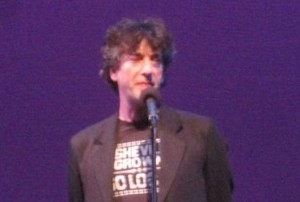 Author Neil Gaiman in an Asheville Grown t-shirt