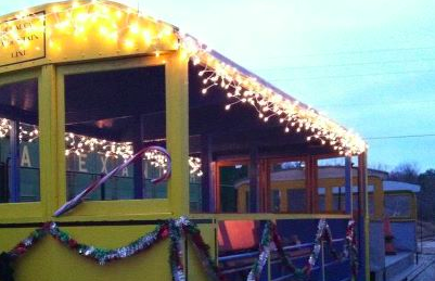 Train trolley in Woodfin ready to start first public run of Jingle Bell run