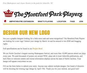 Montford Park Players looking for new logo design; $500 prize up for grabs