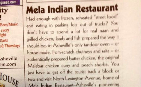 Mela restaurant ad asks: Tired of food trucks and reheated street food?