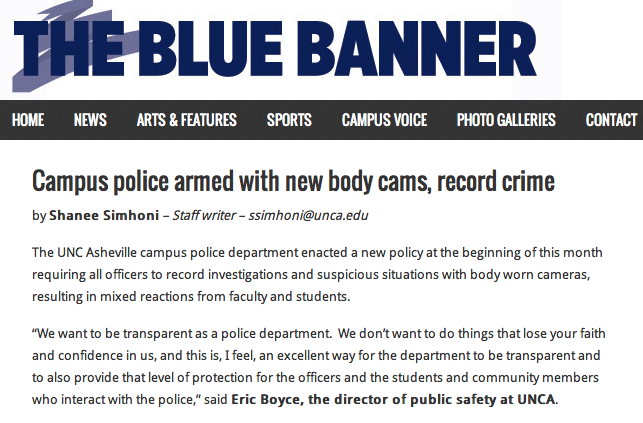 Blue Banner: UNCA campus police sport body cams to record misdeeds