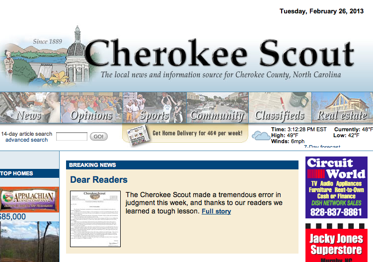 Media blog pokes Cherokee Scout for apology over public records request