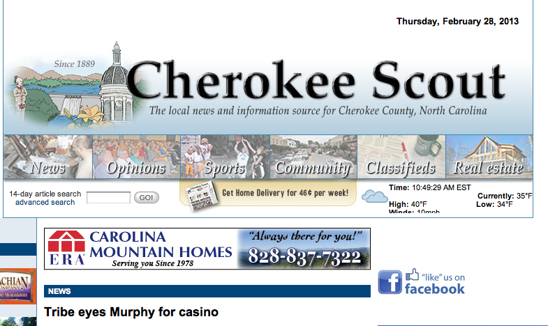 Cherokee Scout: Eastern Band of Cherokee looks to build a second casino
