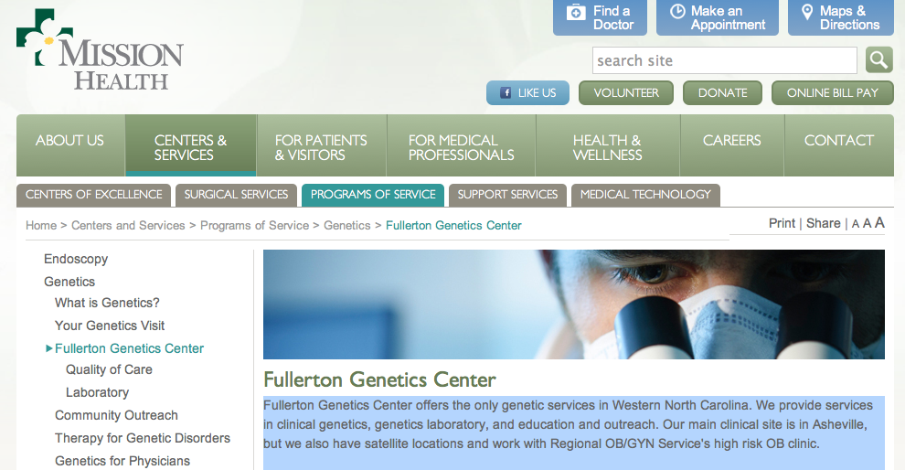 Mission Health planning to build new $7 million home for Fullerton Genetics Center