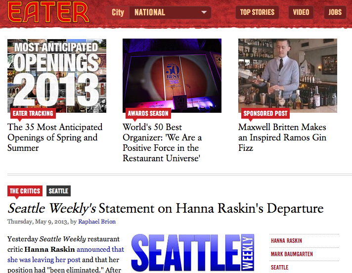 Former Mountain Xpress food critic Raskin out at Seattle Weekly