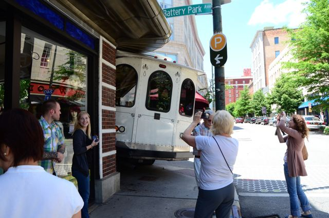 Photos: Trolley crashes into Miles Building in downtown Asheville