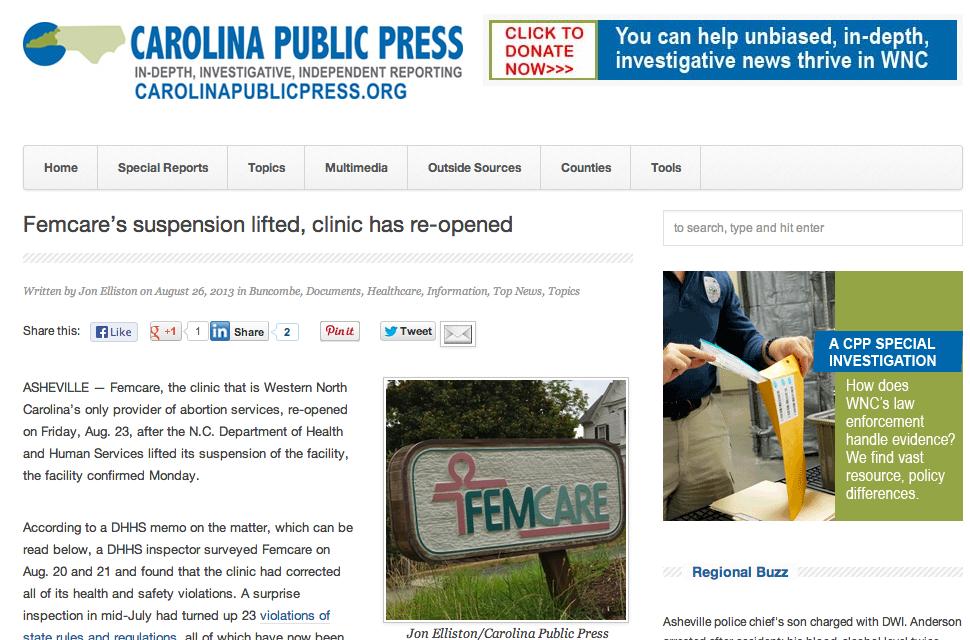 Carolina Public Press: Asheville abortion clinic re-opens