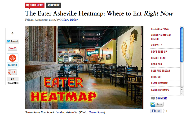 Eater.com publishes first ever restaurant heatmap for Asheville, brought to you by Ashvegas