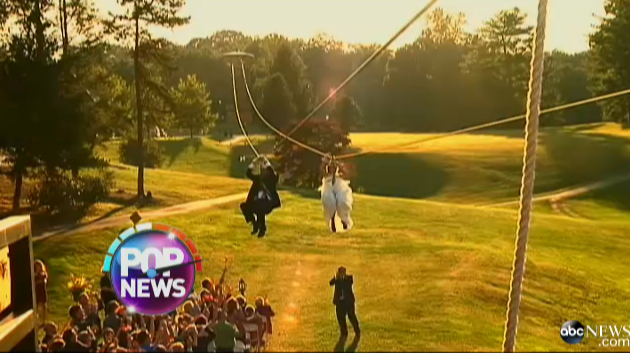 Asheville couple gets Good Morning America attention for zipline arrival to their wedding ceremony