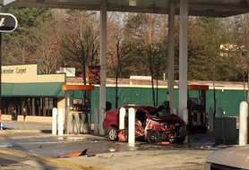 WLOS: Car crashes into pumps, catches fire at Hot Spot on Leicester Hwy.