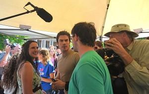 Anna Jane Joyner, of Asheville environmental group WNC Alliance, with TV star Ian Sommerhalder in the summer of 2013./ Photo by Jason Sandford