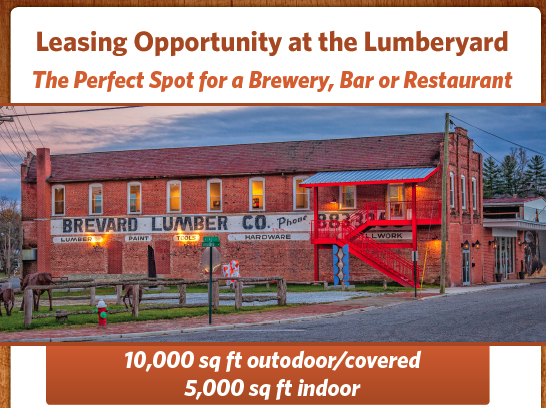 For lease: Brevard Lumber Arts District space to restauranteur, bar or brewery owner