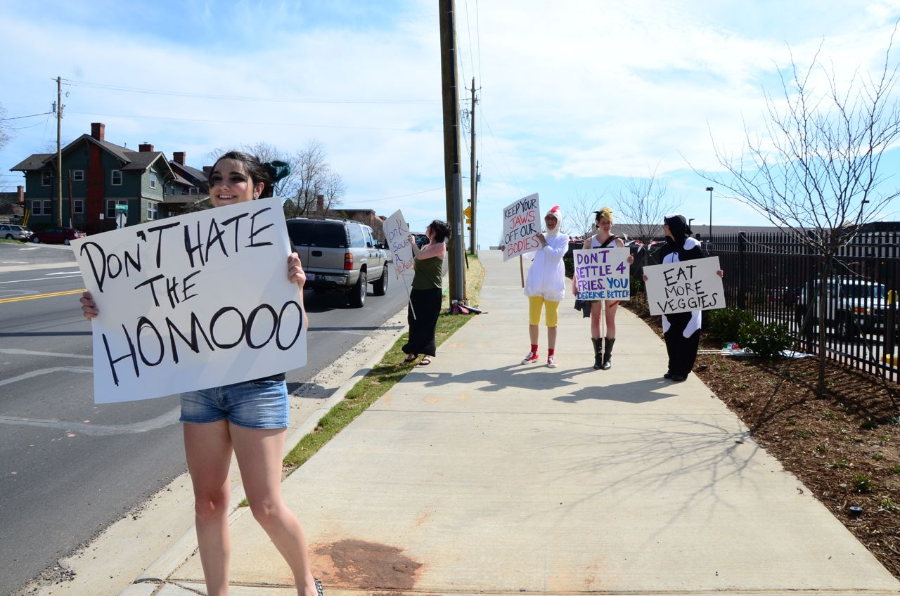 UPDATED Small group of protesters gather outside north Asheville Chick-fil-A