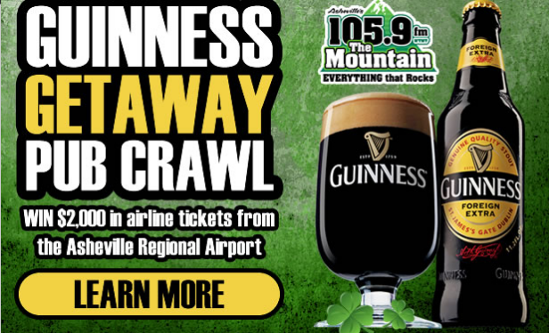 Monday pub crawl with Guinness and 105.9 The Mountain offers prizes, $2,000 flyaway from Asheville Regional Airport