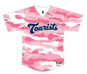 The Asheville Tourists' special jerseys for breast cancer awareness.