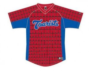 The Asheville Tourists' special Spider-Man jerseys.