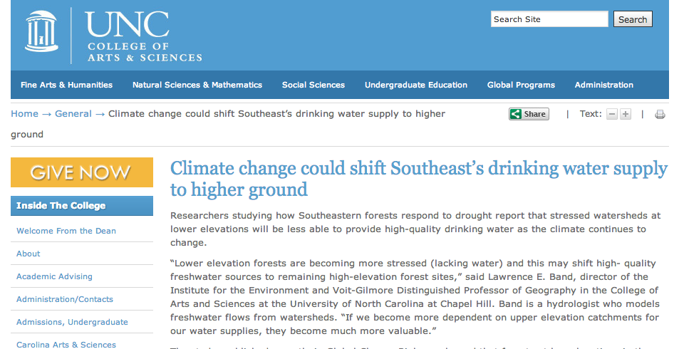 Study: Climate change could increase demand for drinking water from Asheville area watersheds