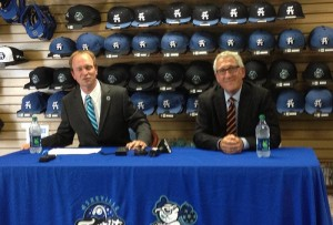 Tourists president Brian DeWine and Ingles CFO Ron Franklin at a McCormick Field press conference.