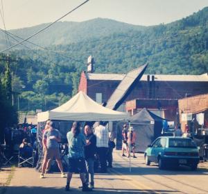 Photo of movie shoot in Swannanoa via Native Social Pub on Twitter/Instagram