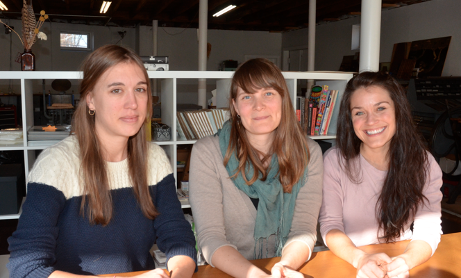 From left, the ladies of 7 Ton Design and Letterpress Company: Beth Schaible, Ele Annand and Jennifer Rozzelle.