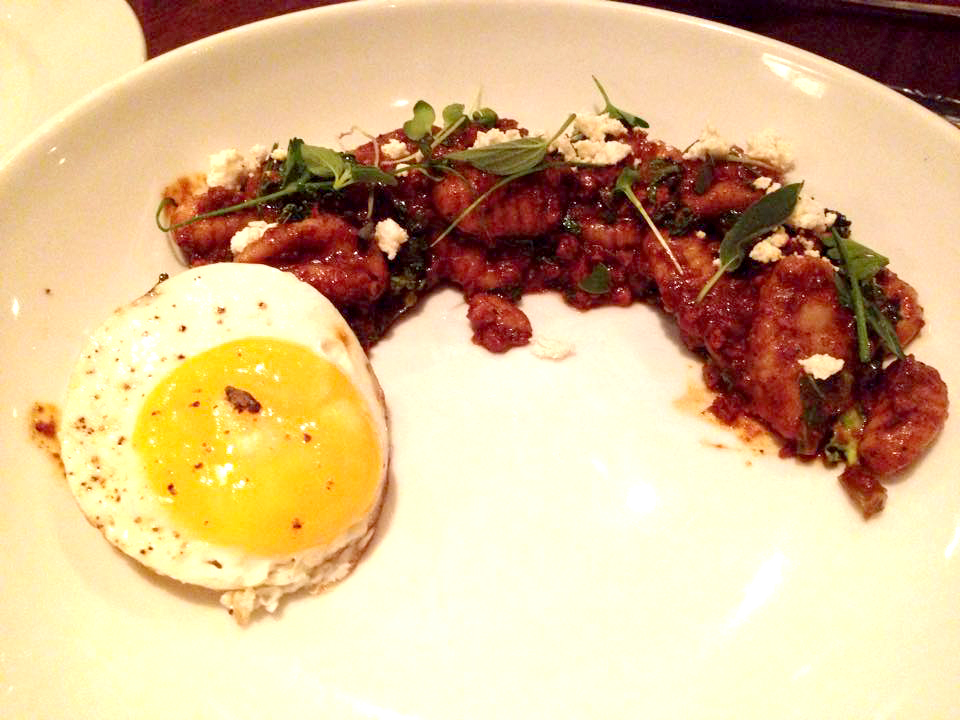 Gnocchi Bolognese with blood chorizo and an egg.