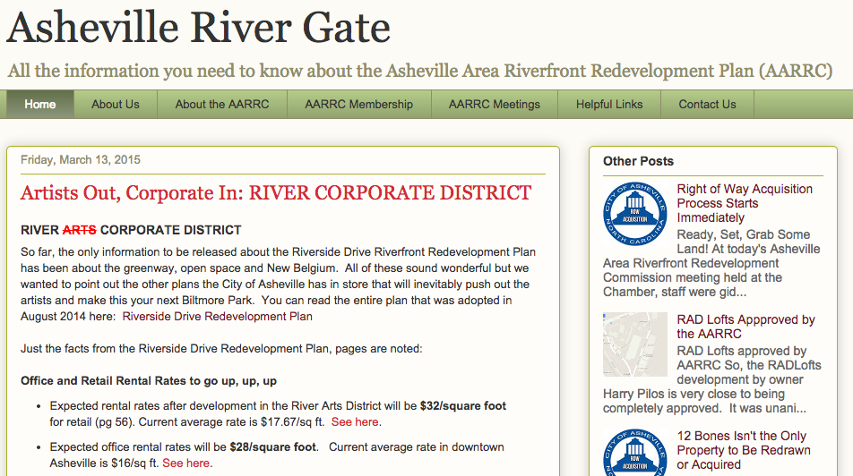 Update: New website, AshevilleRiverGate.com, launched to track Asheville's riverfront redevelopment