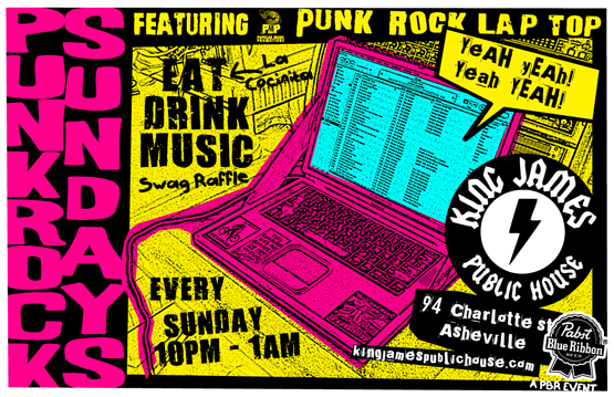 """Some of you might remember the Punk Rock Lap Top from his stint at Fred's Speakeasy a few years back. Well, he's back form the dead and rockin' more """"tunes"""" than ever!"""