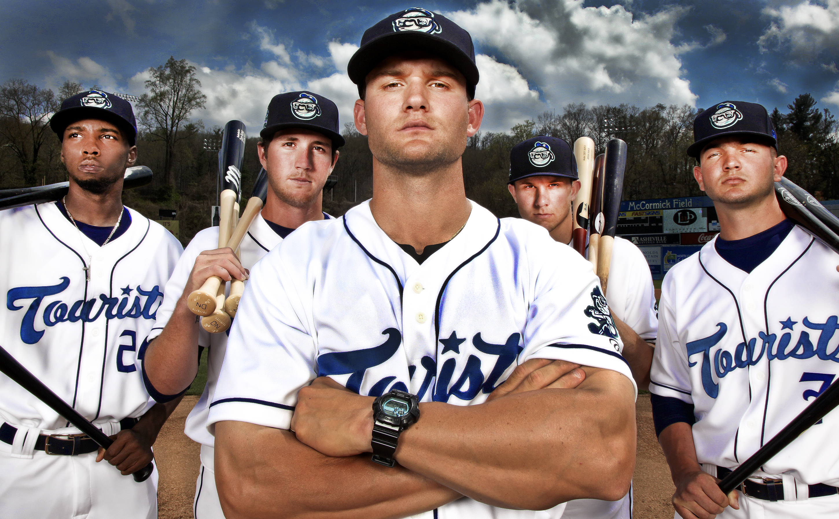 The 2015 Asheville Tourists, featuring Manager Warren Schaeffer, center./ PHOTOGRAPH by STEWART O'SHIELDS for ASHVEGAS.COM
