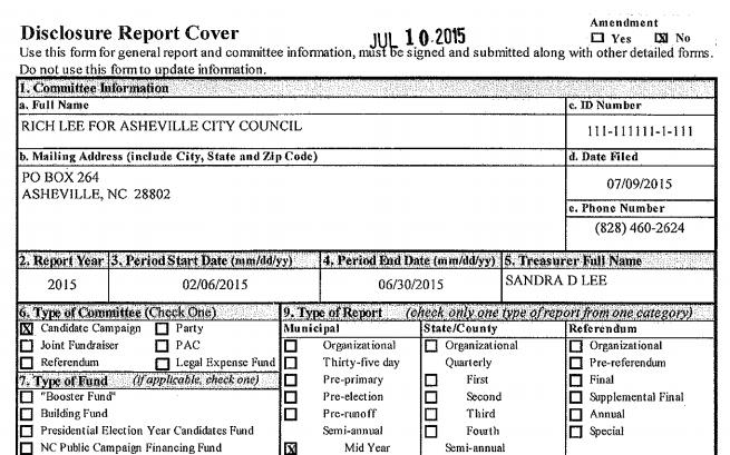 campaign_finance_report_asheville_city_council_2015_lee