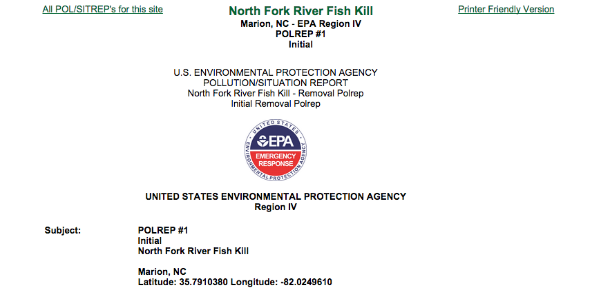 Officials investigate North Fork River fish kill near Coats America in McDowell County