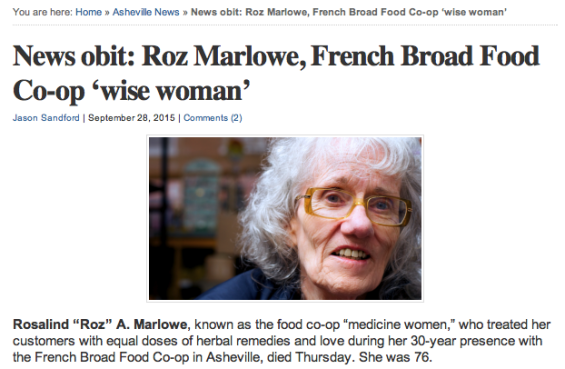 Screen shot of Roz's obituary as it appeared on Ashvegas.com