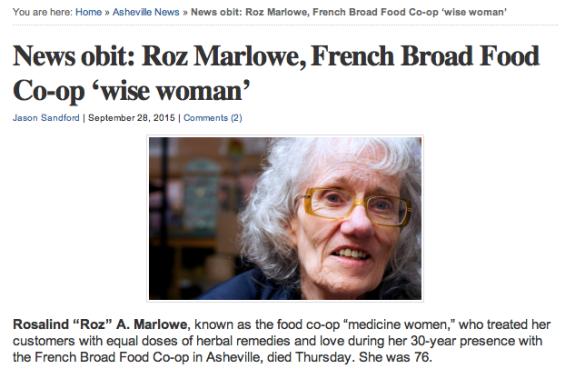 Screen shot of Roz's obituary as it appeared on Ashvegas.com