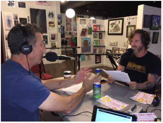 """L-R: Chef Joe Scully & Stu Helm, """"The Food Fan,"""" recording AVL Food Fans at Zapow Studios in Downtown Asheville, NC"""
