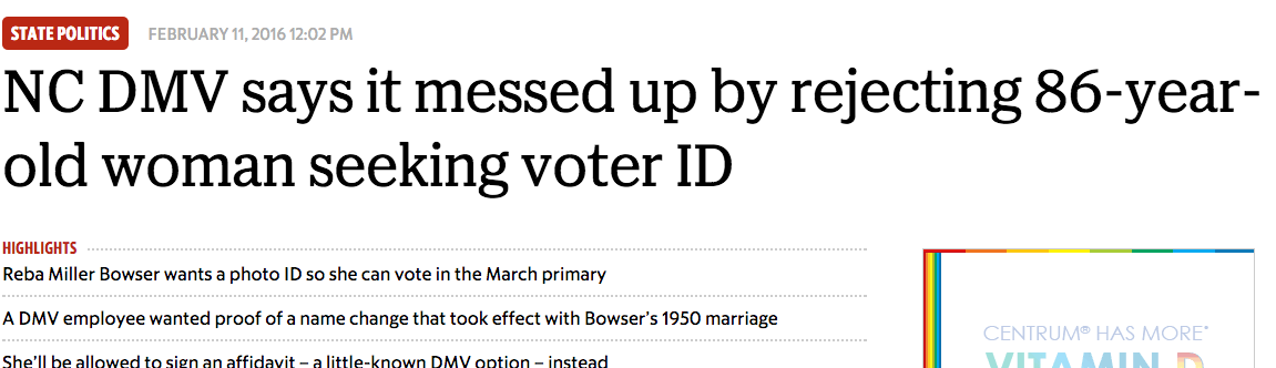Raleigh News & Observer: DMV admits mistake in refusing Asheville woman voter ID