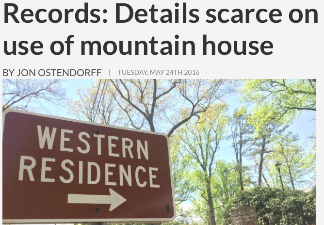 WLOS: Records scarce on use of N.C. governor's house in Asheville