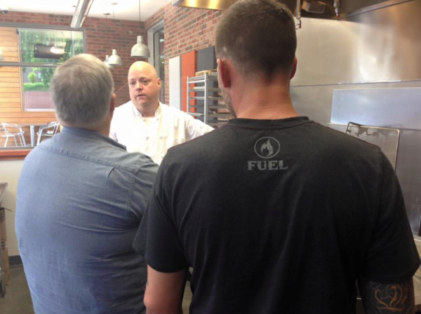 L-R: Bob, Chef Brian, and Rob at the doughnut maker in Asheville Biscuitry