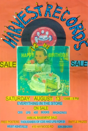 Annual anniversary sale at Harvest Records in West Asheville on Saturday