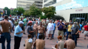 The Go Topless rally in downtown Asheville in 2014. Photo by Jason Sandford