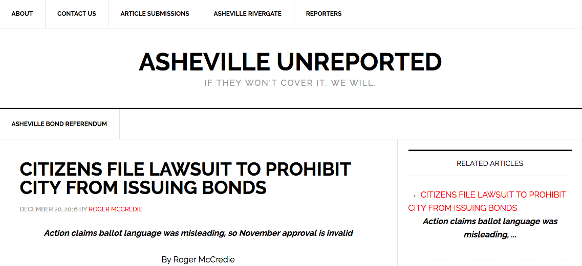 Asheville Unreported: Lawsuit filed to declare Asheville bond vote invalid