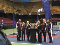 2018 Fed Cup team photo at US Cellular Center in Asheville./ photo by Jason Sandford