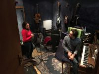 "Asheville songstress Jane Kramer and Glasgow songwriter Andy Lucas in May 2017 working out the recording of their duet, ""Valentine,"" written by Lucas./ photo by Jason Sandford"