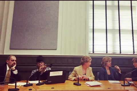 Asheville City Council at an April 10, 2018, budget workshop. From left: Vijay Kapoor, Sheneika Smith, Vice Mayor Gwen Wisler, Mayor Esther Manheimer, Julie Mayfield.