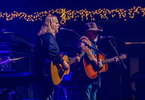 Warren Haynes, left, and Ray Sisk at the 30th anniversary Christmas Jam. / photo by DAVID SIMCHOCK for Ashvegas.com