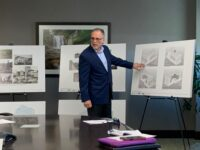 Asheville architect Peter Alberice of MHAworks Asheville shows renderings of a mixed-use project planned for downtown called Create 82 Broadway. /photo by Jason Sandford