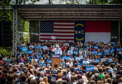 U.S. Sen. Bernie Sanders, who is running for the Democratic nomination to run for president in the 2020 Election, stumped in Asheville on Friday, May 18, at the Salvage Station music venue. /photo by Stephan Pruitt