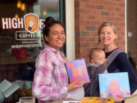 Two Asheville moms - Bianca Gragg at left and Jeannie Curtis at right - have created the Colorful Pages Project to bring picture books written by people of color and featuring ethnically diverse characters into local schools. /photo courtesy of High Five Coffee