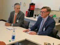 At left is Greg Lowe, president of the newly created Asheville-based North Carolina Division of HCA Healthcare, which comprises the recently purchased Mission Health system of six hospitals in Western North Carolina; and Terence van Arkel, the division's chief financial officer. The two met with Asheville media representatives on Thursday morning at the Mission Health SECU Cancer Center in Asheville. /photo by Jason Sandford