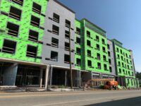 A hotel under construction on Meadow Road in Asheville./ photo by Jason Sandford