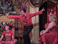 A scene from the Bernstein Family Christmas Spectacular, featuring Erik Moellering as the flamboyant Latin lover Joaquin, alongside fellow players Glenn Reed, who plays the stoner Jimbo (and Joaquin's love interest) and Tracy Johnston Crum as Judy Bernstein./ photo by Tempus Fugit Design