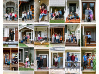 A collection of portraits taken by Asheville photographer Rachael McIntosh in recent weeks as part of a project where she's shooting family portraits on people's porches during this season of pandemic. She calls the project Asheville 6ft Apart./ photo courtesy of Rachel McIntosh